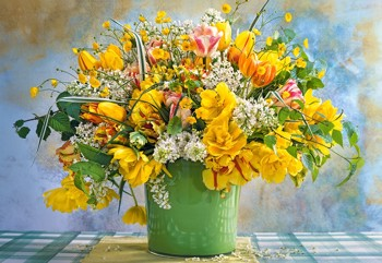 Spring Flowers in Green Vase