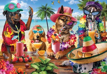 Dogs Drinking Smoothies on Tropical Beach