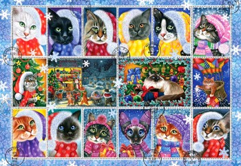 Christmas Cat Stamp Collection