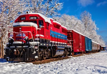 Red Train in the Snow
