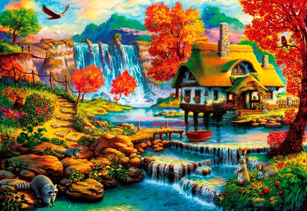 Country House by the Water Fall